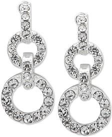 Lauren Ralph Lauren Silver-Tone Crystal Double Circle Drop Earrings