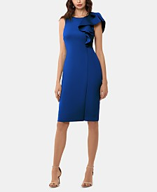 Betsy & Adam Ruffled Sheath Dress