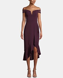 XSCAPE Off-The-Shoulder High Low Dress