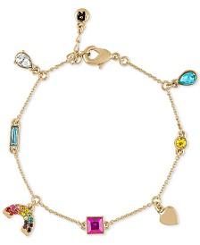 RACHEL Rachel Roy Gold-Tone Stone & Heart Rainbow Charm Bracelet