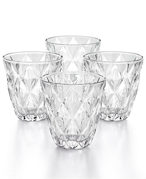 The Cellar CLOSEOUT! Clear Diamond Double Old-Fashioned Glasses, Set of 4, Created for Macy's