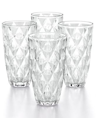 Clear Diamond Highball Glasses, Set of 4, Created for Macy's