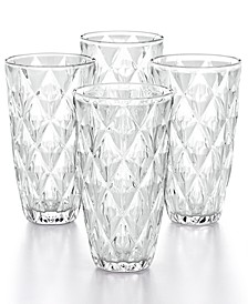 CLOSEOUT! Clear Diamond Highball Glasses, Set of 4, Created for Macy's