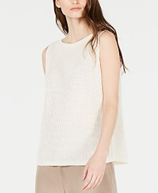 Eileen Fisher Linen Sleeveless Boat-Neck Top