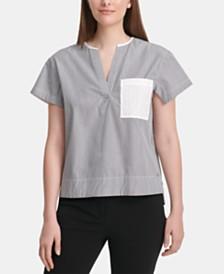 DKNY Logo-Pocket Striped Top