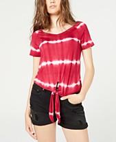 407930c2c406 Ultra Flirt Juniors' Printed Tie-Front T-Shirt