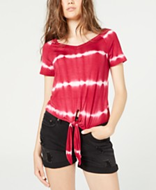 Ultra Flirt Juniors' Printed Tie-Front T-Shirt