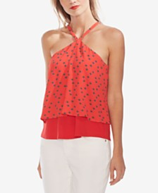 Vince Camuto Printed Layered-Hem Halter Top