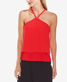 Vince Camuto Layered-Hem Halter Top