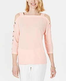 Statement-Sleeve Cold-Shoulder Top, Created for Macy's