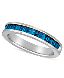 Sterling Silver Ring, Blue Diamond Baguette Ring (1 ct. t.w.)