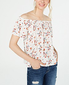Juniors' Printed Off-The-Shoulder Peasant Top