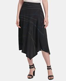 DKNY Printed Handkerchief-Hem Skirt
