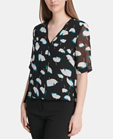 DKNY Piping-Trim Blouse