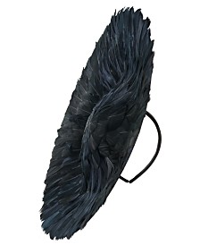 Josette Black Feathered Saucer Hat