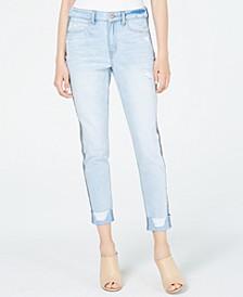 Juniors' Ripped Herringbone-Contrast Skinny Jeans