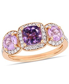 Amethyst (1-3/4 ct.t.w.) and Diamond (1/3 ct.t.w.) 3-Stone Halo Ring in 18k Rose Gold over Sterling Silver