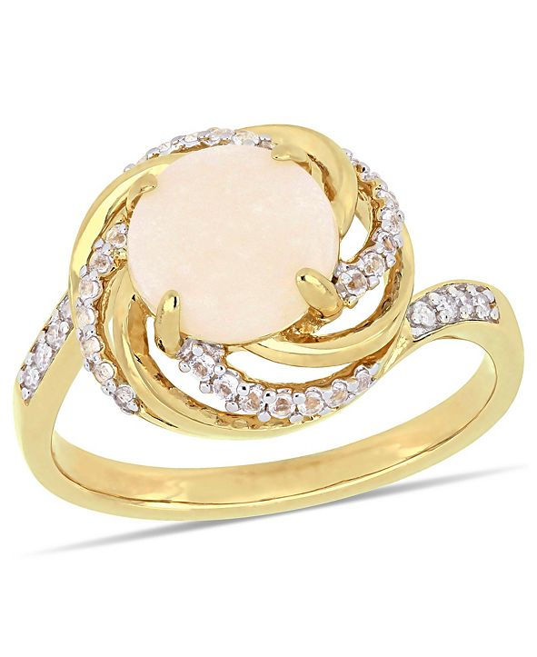 Macy's Opal (1-1/4 ct. t.w.) and White Topaz (1-3/8 ct.t.w.) with Diamond Accent Interlaced Swirl Halo Ring in 18k Gold over Sterling Silver