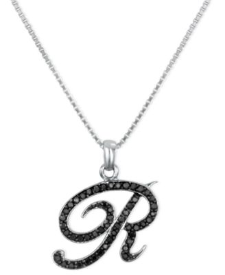 """Sterling Silver Necklace, Black Diamond """"R"""" Initial Pendant (1/4 ct. t.w.)"""