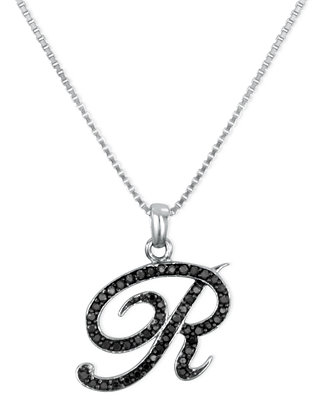 Macy's Sterling Silver Necklace, Black Diamond