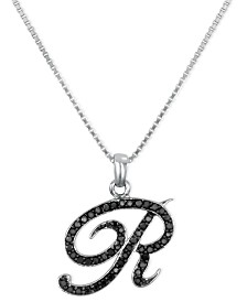 "Sterling Silver Necklace, Black Diamond ""R"" Initial Pendant (1/4 ct. t.w.)"