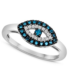 Sterling Silver Ring, Blue Diamond (1/10 ct. t.w.) and White Diamond Accent Evil Eye Ring