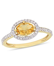 Citrine (3/4 ct.t.w.) and Diamond (1/4 ct.t.w.) Halo Ring in 10k Yellow Gold