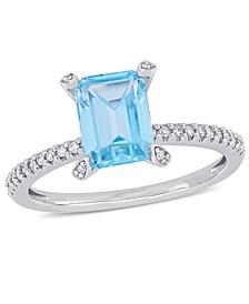 Blue Topaz (2 ct.t.w.) and Diamond (1/10 ct.t.w.) Ring in 10k White Gold