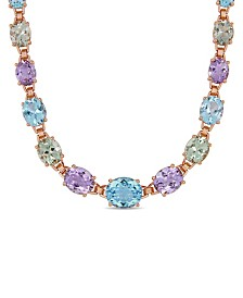 "Blue Topaz (29-7/8 ct. t.w.), Amethyst (20-3/4 ct. t.w) and Prasiolite (18-1/3 ct. t.w.) 17"" Link Necklace in 18k Rose Gold over Sterling Silver"