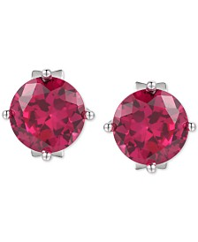 Lab Created Ruby Stud Earrings (2 ct. t.w.) in Sterling Silver