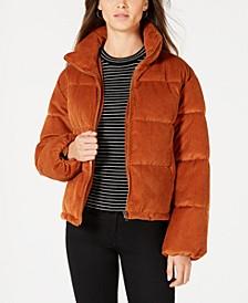 Juniors' Cropped Corduroy Puffer Coat