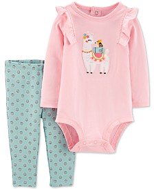 Carter's Baby Girls 2-Pc. Llama Bodysuit & Floral-Print Leggings Cotton Set