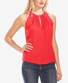 Vince Camuto Gathered-Neck Keyhole Top