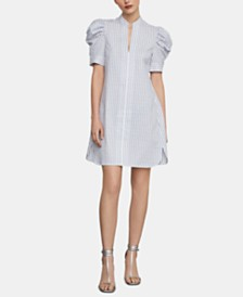 BCBGMAXAZRIA Striped Puff-Shoulder Shirtdress