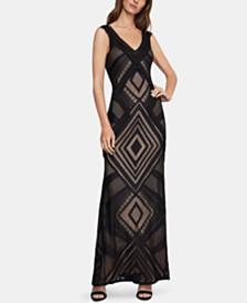 BCBGMAXAZRIA Geometric-Lace Gown