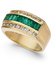 Men's Emerald (1-1/2 ct. t.w.) & Diamond (9/10 ct. t.w.) Ring in 14k Gold