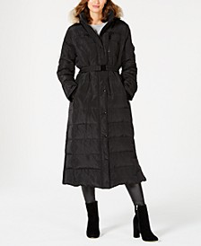 Belted Faux-Fur Trim Hooded Maxi Down Coat