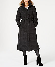 Michael Michael Kors Belted Faux-Fur Trim Hooded Maxi Down Coat