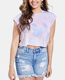 Cropped Faded Palm Print T-Shirt