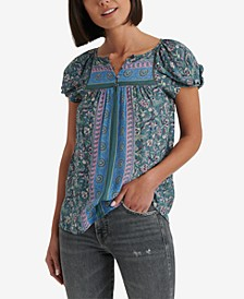 Mixed-Print Peasant Top
