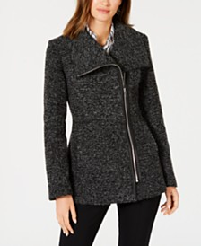 I.N.C. Asymmetrical Faux-Leather-Trim Coat, Created for Macy's