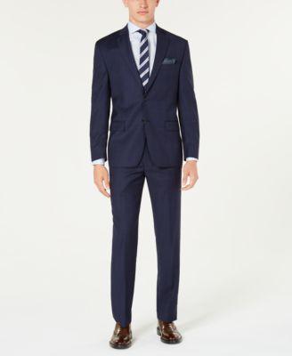 Men's Classic-Fit UltraFlex Stretch Blue Windowpane Plaid Suit Jacket