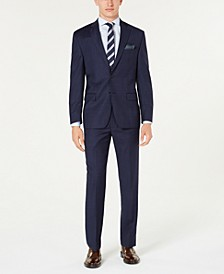 Men's Classic-Fit UltraFlex Stretch Blue Windowpane Plaid Suit Separates