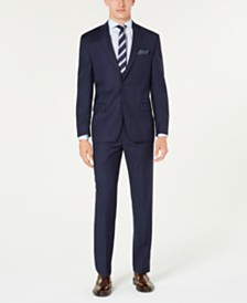 Lauren Ralph Lauren Men's Classic-Fit UltraFlex Stretch Blue Windowpane Plaid Suit Separates
