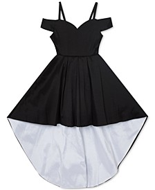 Big Girls Taffeta Cold-Shoulder High-Low Dress