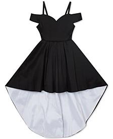 Big Girls Taffeta Cold-Shoulder High-Low Dress