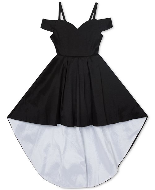 Rare Editions Big Girls Taffeta Cold-Shoulder High-Low Dress