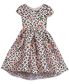 Rare Editions Toddler Girls Floral-Leopard-Print Dress