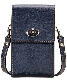 Patricia Nash Rivella Denim Crochet Phone Crossbody