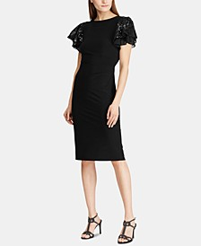 Petite Sequined Flutter-Sleeve Cocktail Dress